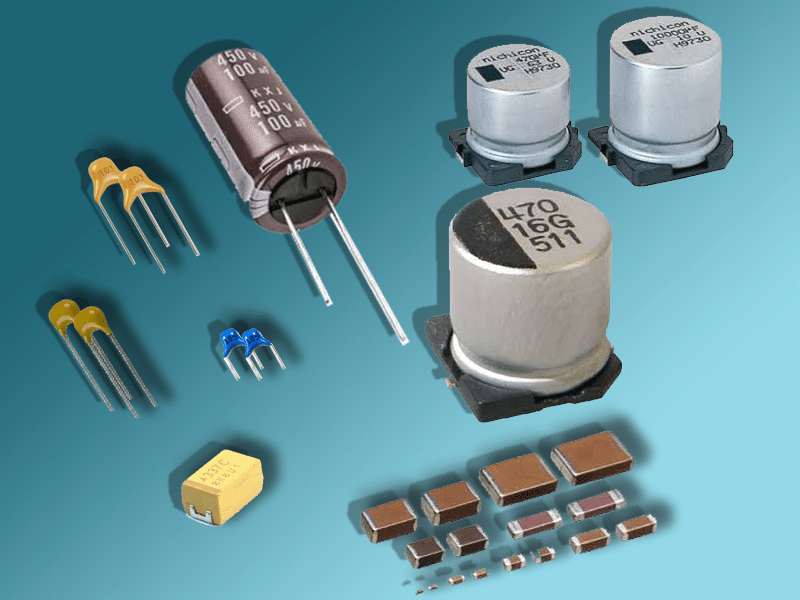 some capacitor packages for aluminum electrolytic, ceramic, mica and tantalum