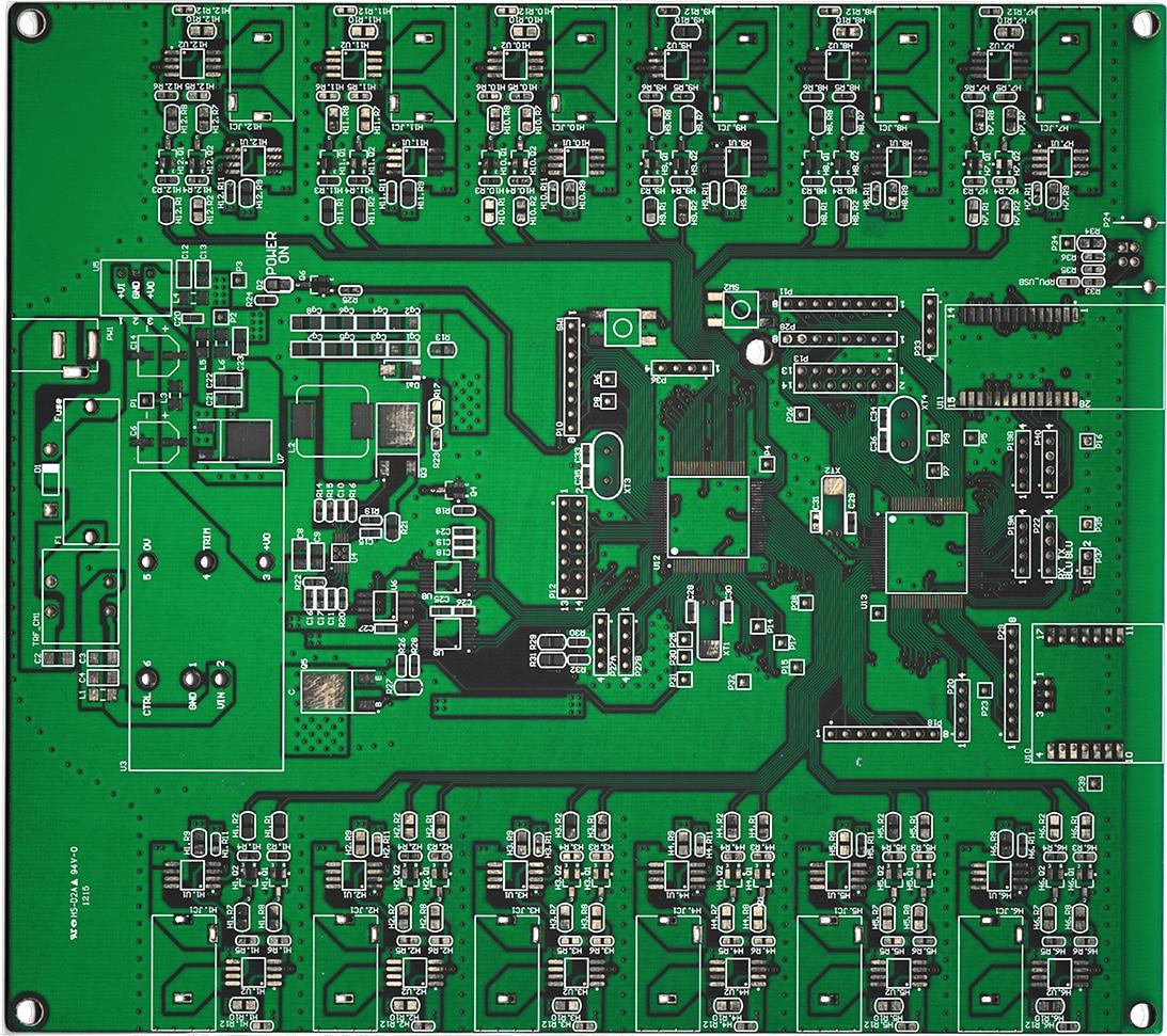 placa pcb multicapas de un generador de señales multicanal diseñado a la medida en cohen electronics consulting